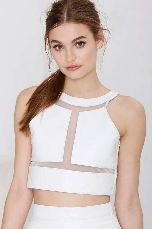 Jennifer Kate Carved Out Leather Crop Top