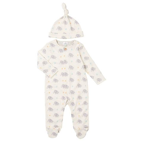 Buy John Lewis Baby Elephant Print Sleepsuit And Hat Set, White/Grey Online at johnlewis.com