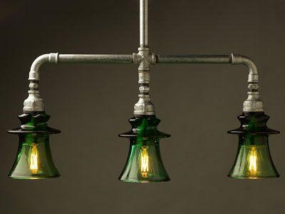 L mpara de techo con tulipas verdes estilo industrial - Iluminacion estilo industrial ...