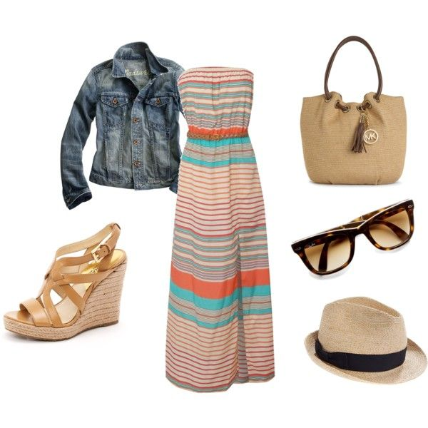 Maxi dress, jean jacket, espadrilles,