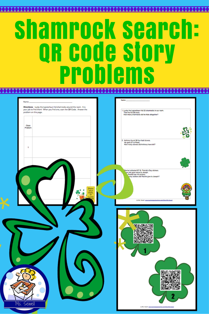 Shamrock Search: Qr Code Story Problems | Math concepts, Word ...