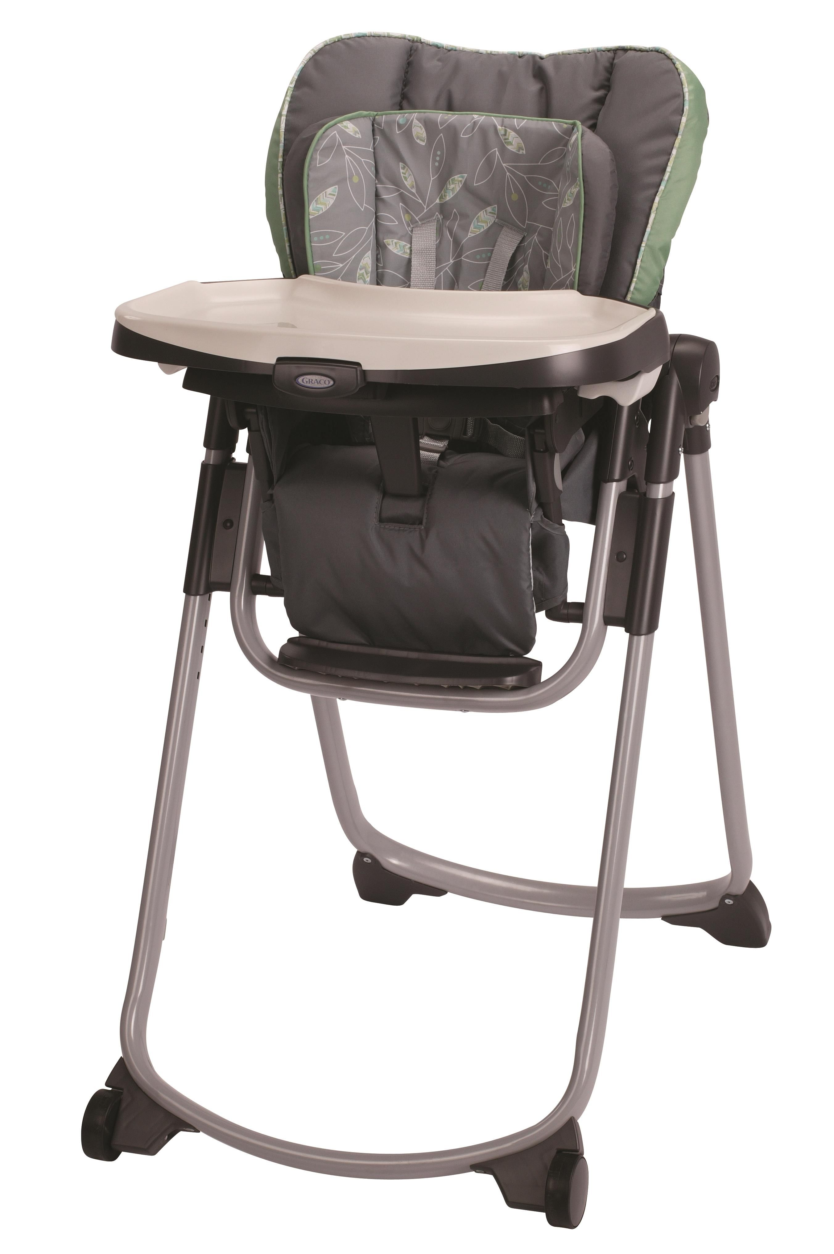 Graco Slim Spaces™ High Chair in trendy green and grey Greenhill