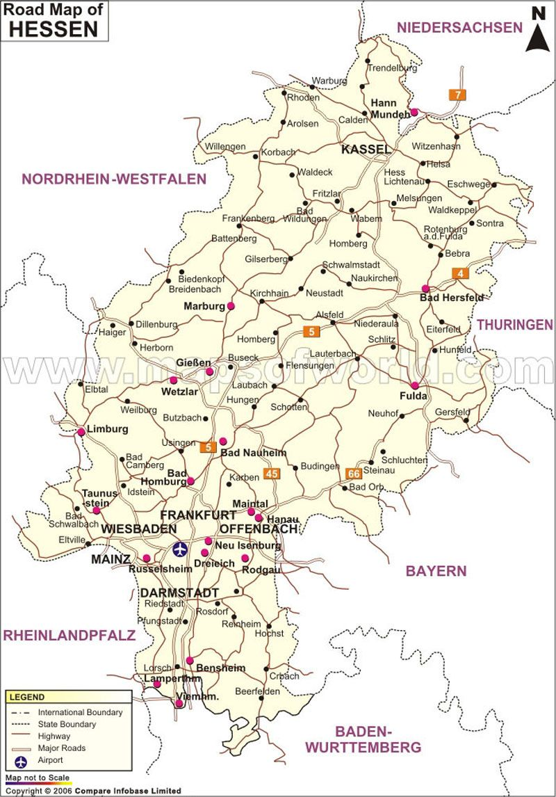 Hessen Road Map Germany Maps Pinterest Hesse and City