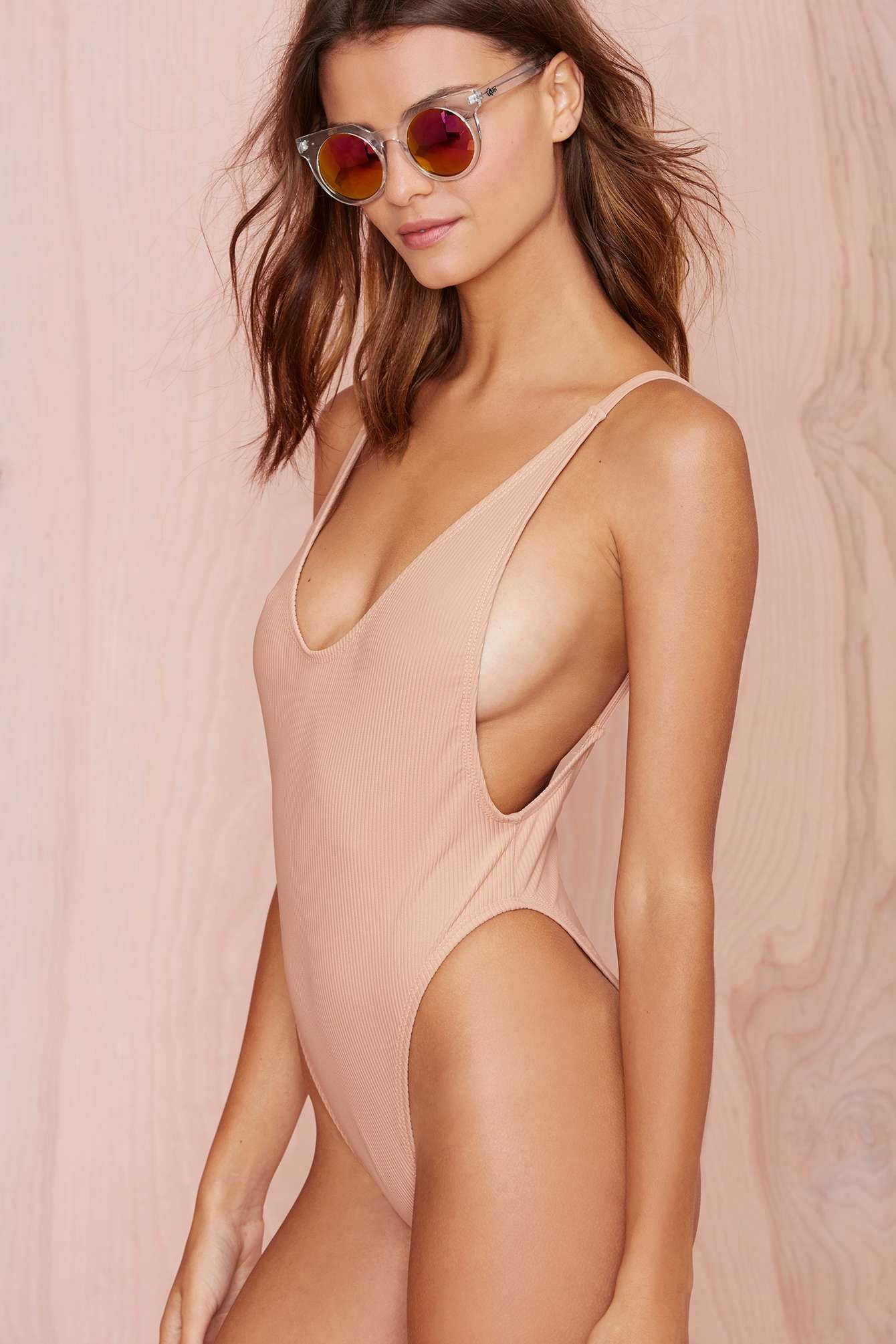 761316415e Nasty Gal Alina Swimsuit - Blush