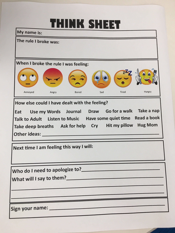 Think Sheet For Kids Emotions Feelings Behavior Classroom