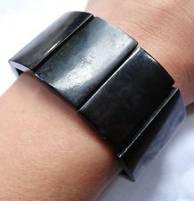antique Victorian vulcanite faux whitby jet panel bead mourning bracelet -K782