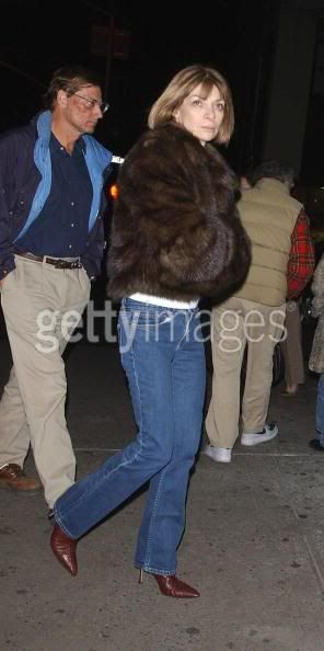 Anna Wintour and Shelby Bryan leave a midtown restaurant after dinner Feb. 16, 2005 in New York CIty. (Photo by Arnaldo Magnani/Getty Images)