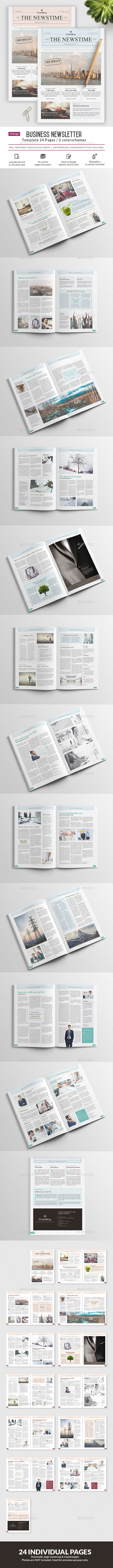 Business Newsletter - 24 Pages Template InDesign INDD