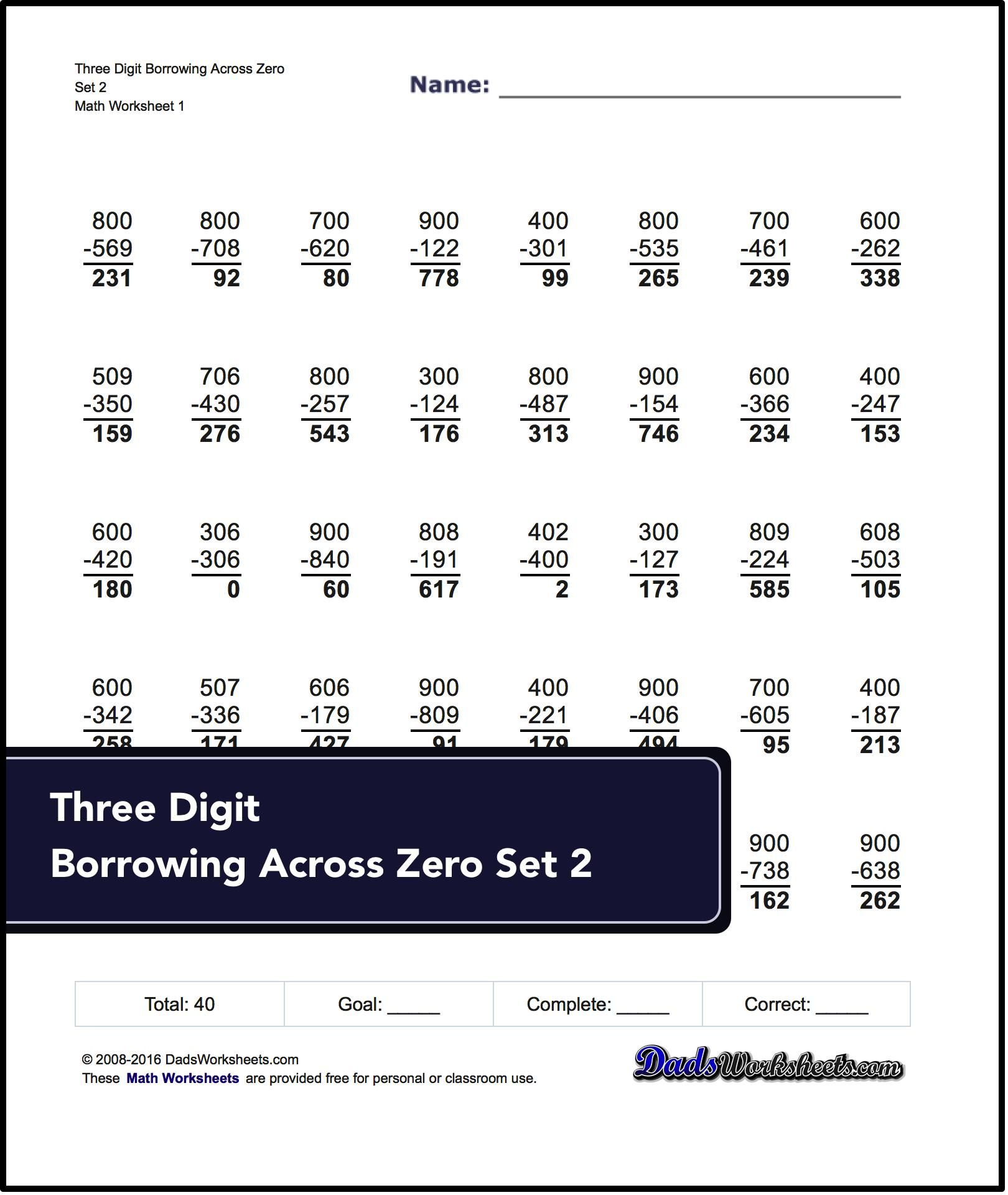 Subtraction Worksheets For Three Digit Borrowing Across