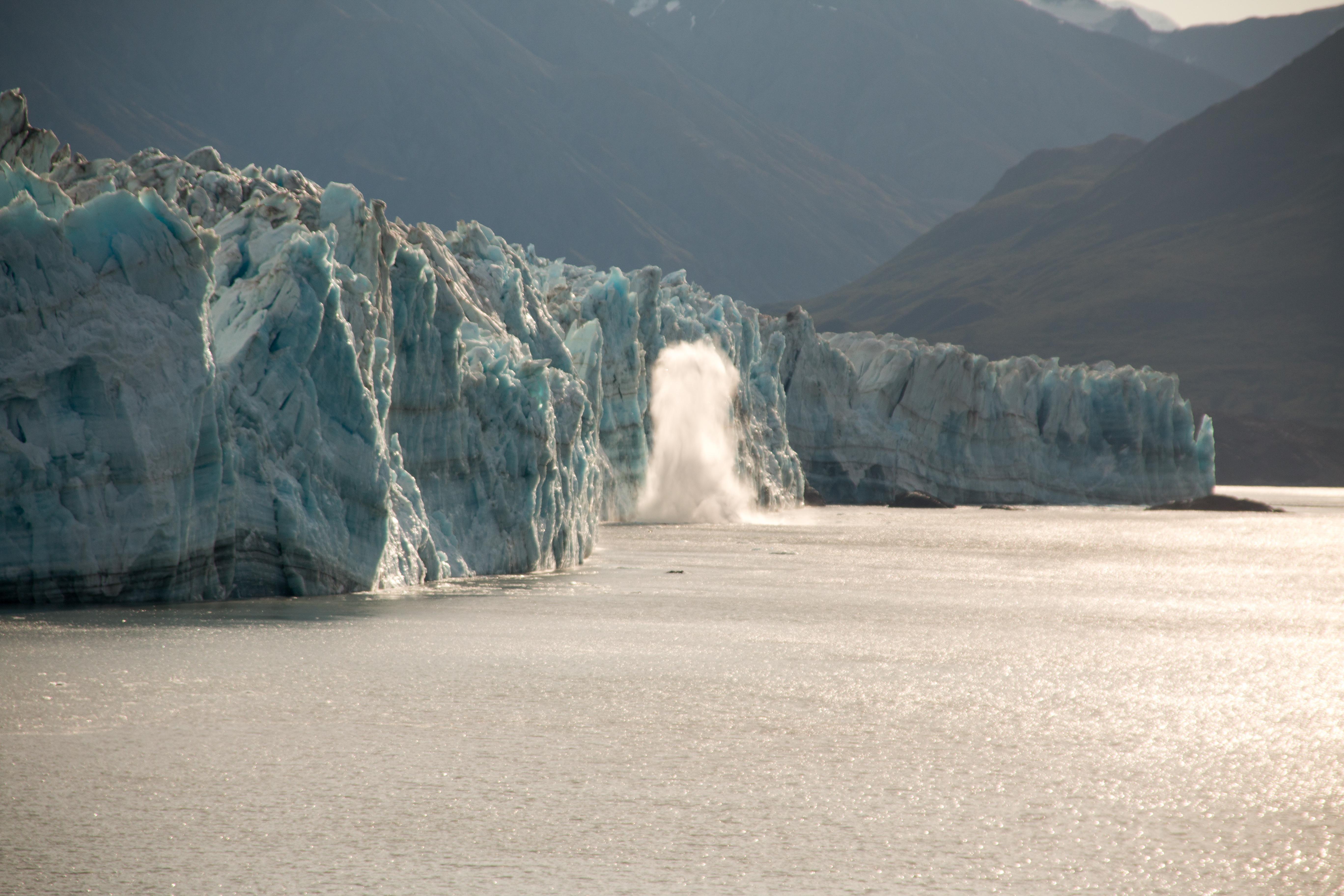 Hubbard Glacier Alaska large piece of glacier calving
