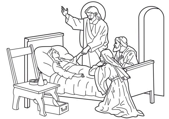 Jesus Heals The Sick Girl Jesus Coloring Pages Jesus Heals