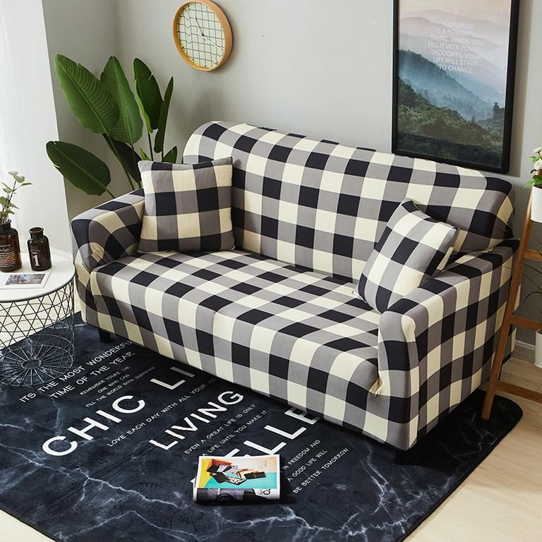 Black and white buffalo check print plaid sizes include