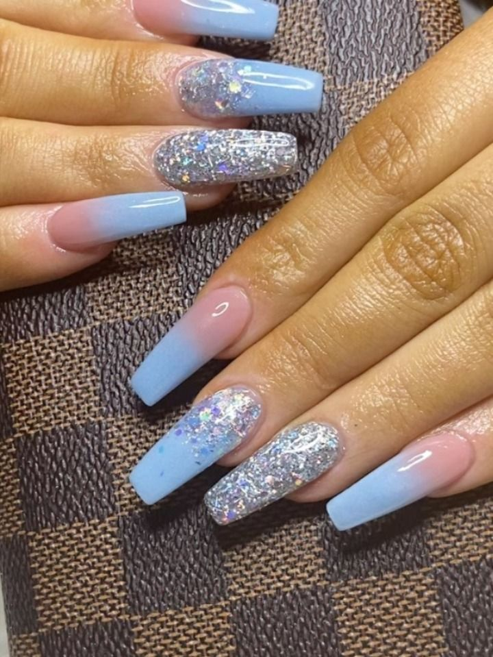 Best Summer Ombre Nails In 2019 Stylish Belles In 2020 Blue And Silver Nails Baby Blue Acrylic Nails Purple Acrylic Nails
