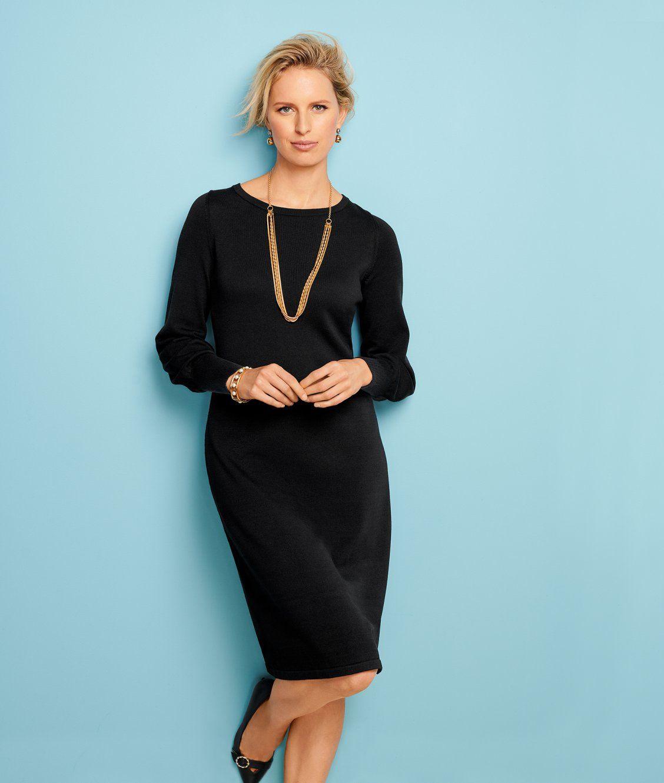 Chic Knit Dress Breathe Life Into Your Wardrobe Talbots Work Wear Business Attire Women Talbots Dress Work Fashion [ 1330 x 1128 Pixel ]