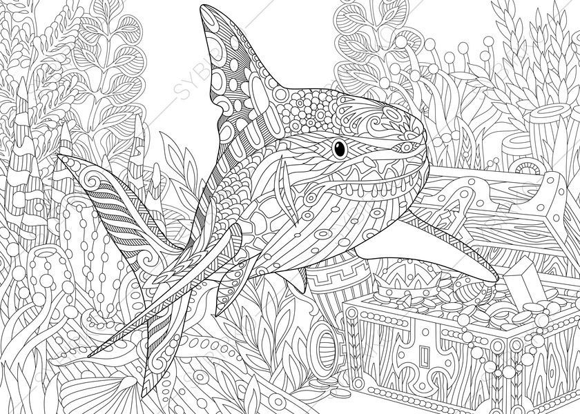 Vector Stylized Underwater Composition Of Shark Seaweed Corals And Treasure Chest Full Gold Freehand Sketch For Adult Anti Stress Coloring Book Page