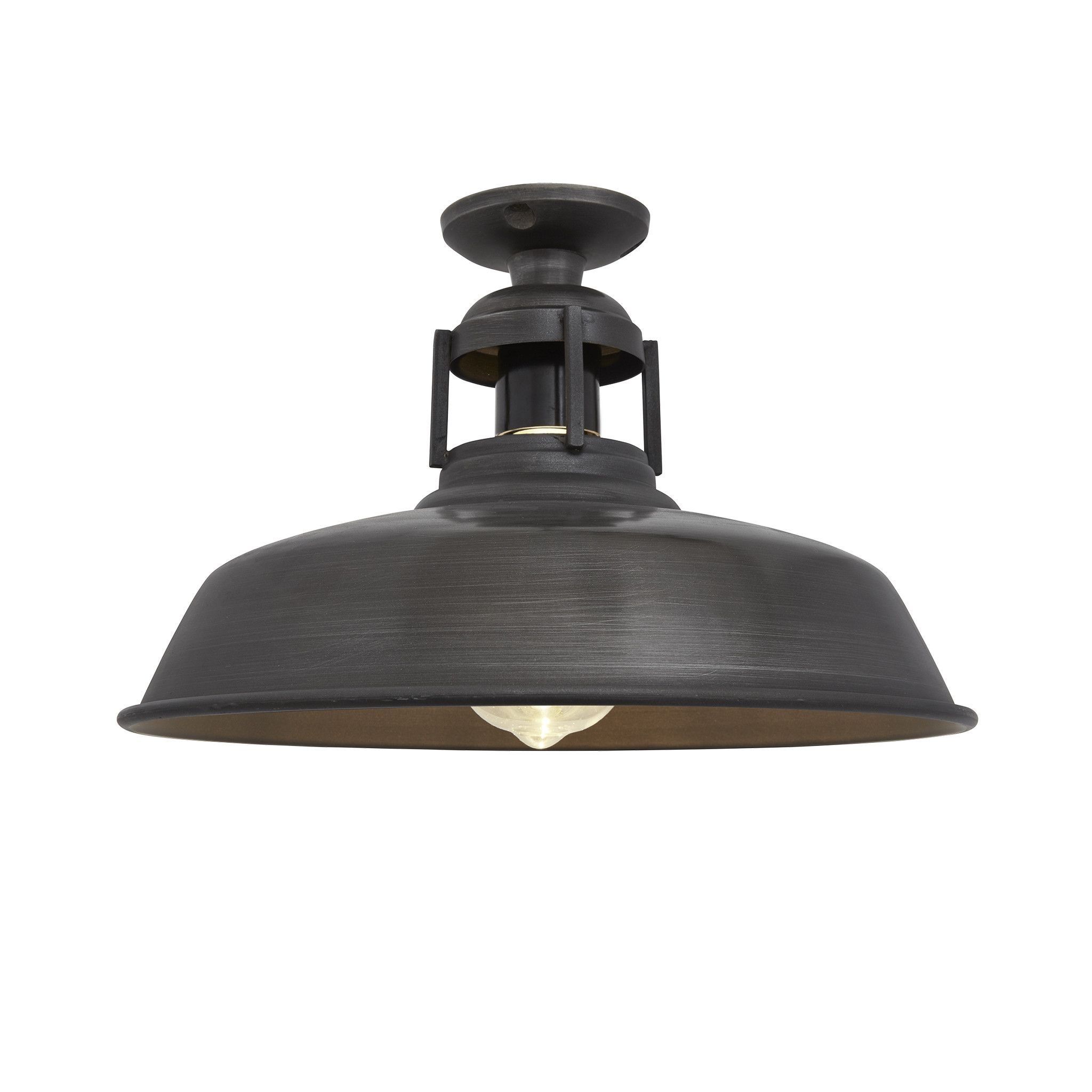 Vintage industrial barn slotted flush mount ceiling light pewter vintage industrial barn slotted flush mount ceiling light pewter aloadofball Image collections