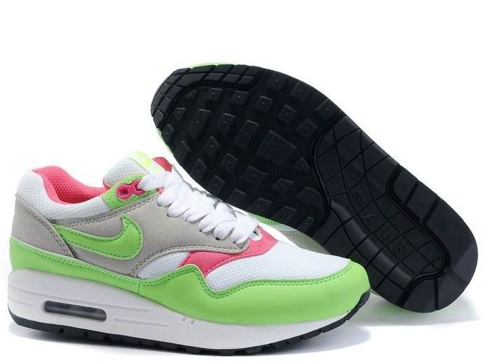 info for 41652 e38c8 Buy New Womens White Electric Green Neutral Grey Pink Nike Air Max 1  Lightweight Shoes