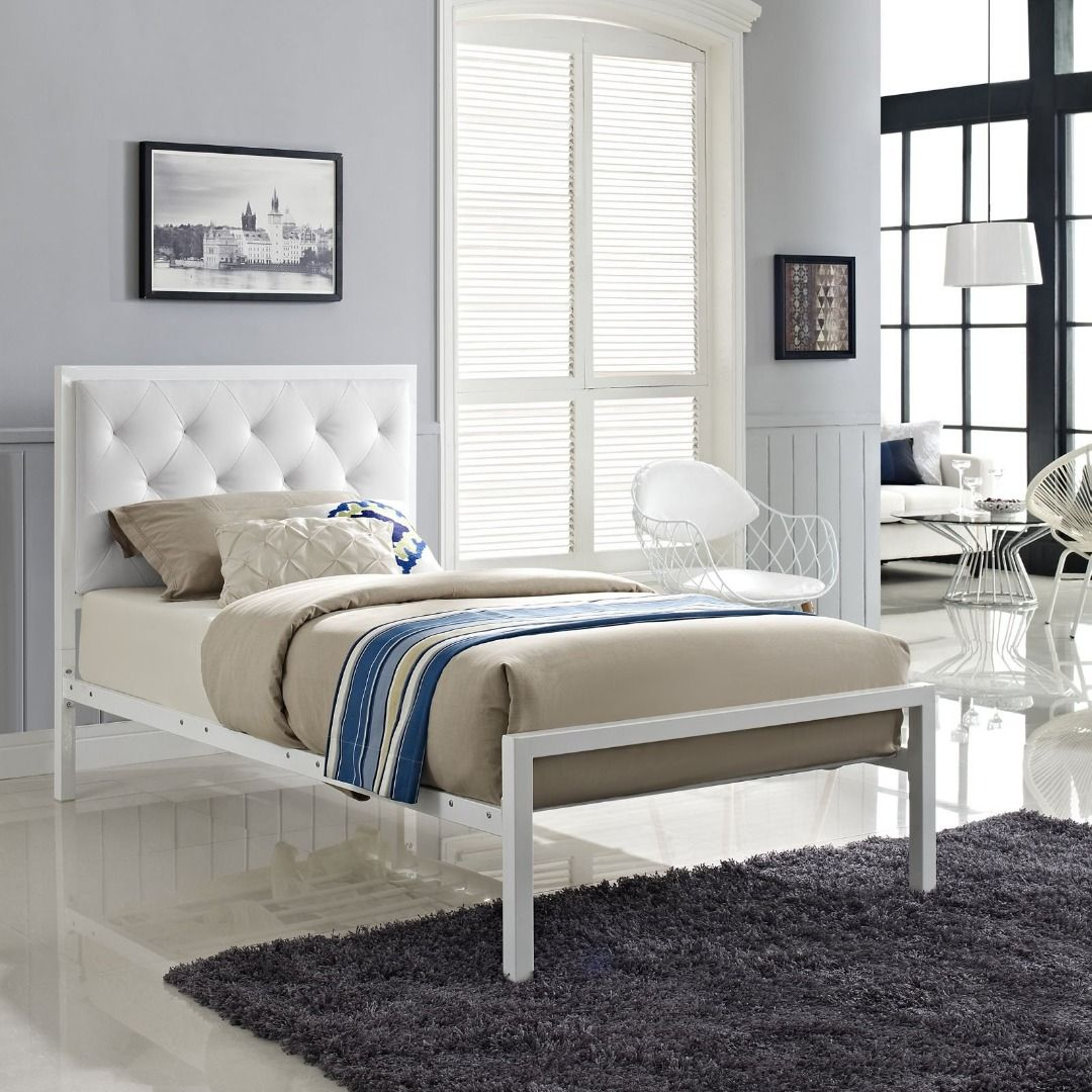 Mia Twin Vinyl Bed (White White) Bed frame and headboard