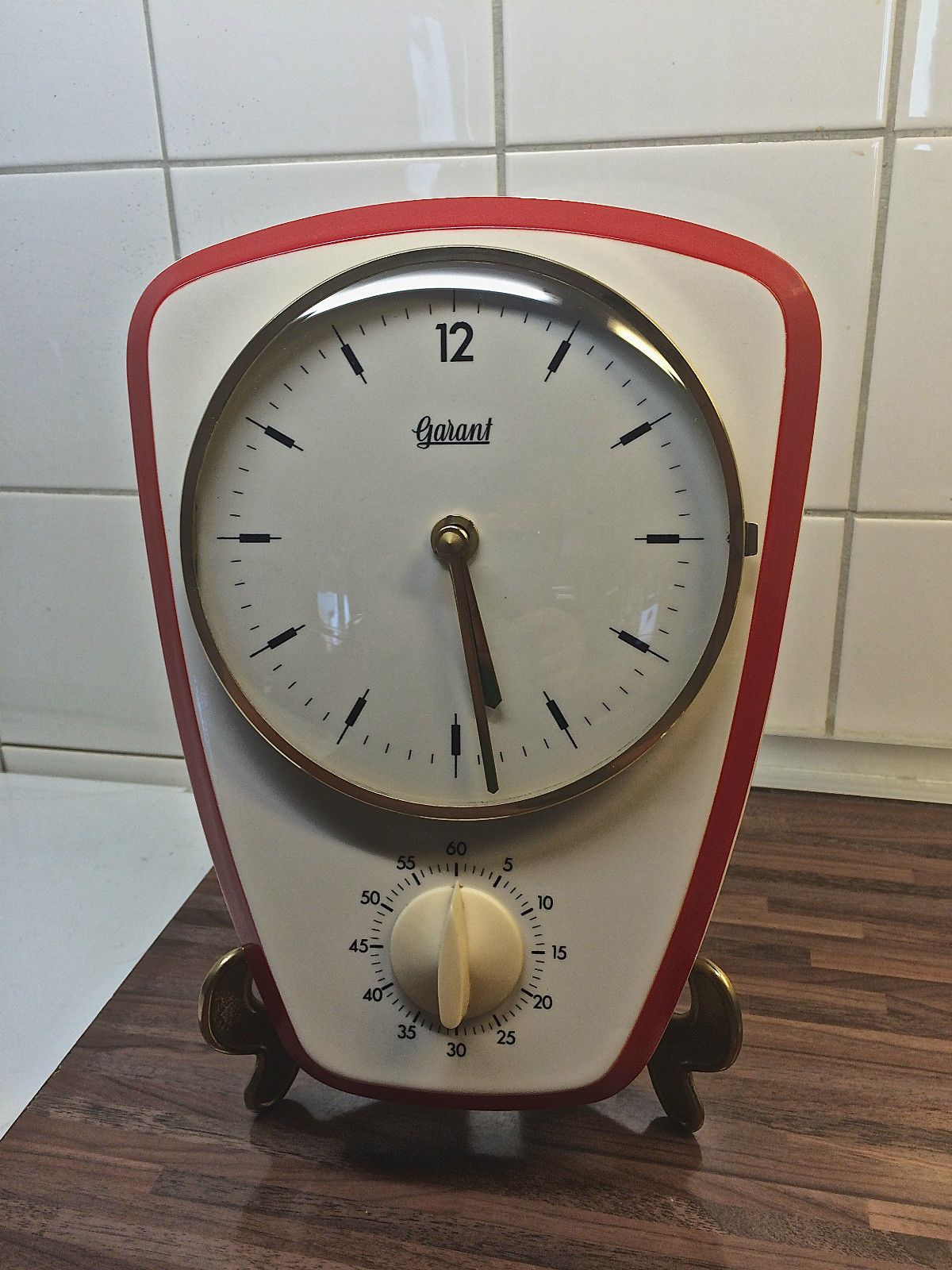 Vintage Garant Porcelain Kitchen Wall Clock With Egg Timer Serviced