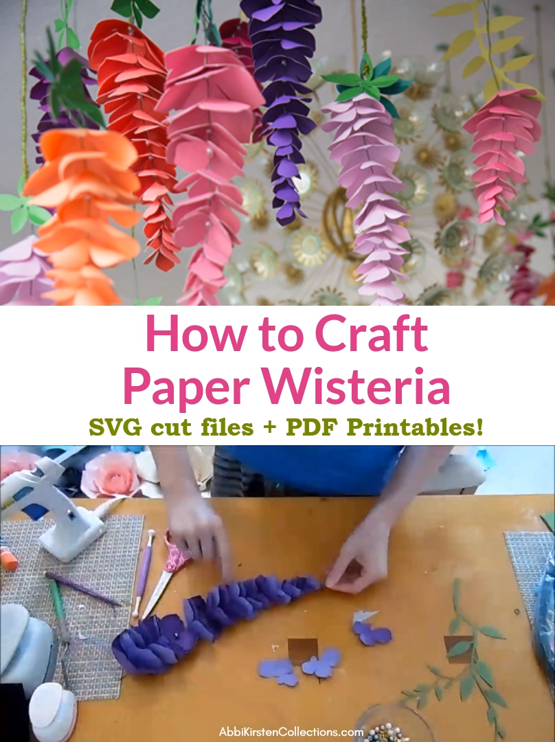 Create Stunning Diy Paper Wisteria Flowers Step By Step Using These Paper Flower Svg Templates Or P In 2020 Paper Flowers Craft Paper Flower Tutorial Flower Diy Crafts