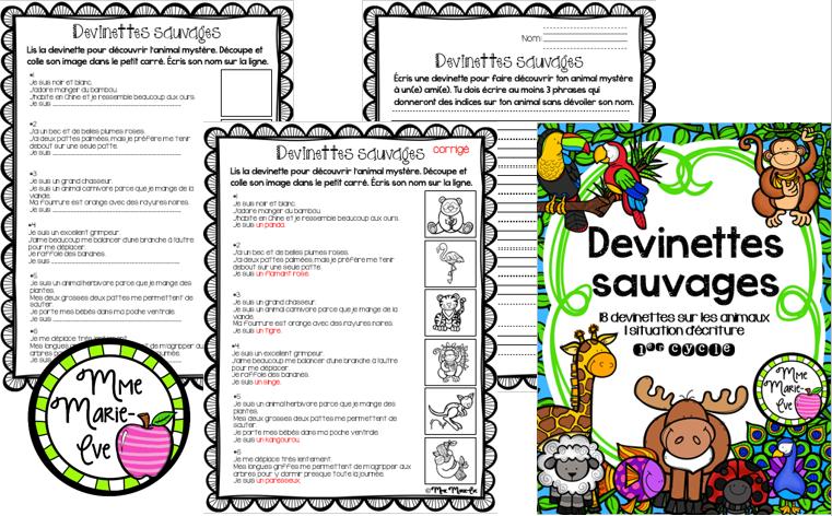 Voici 18 devinettes amusantes et 1 situation d'écriture sur le thème des animaux destinées aux élèves du 1er cycle.