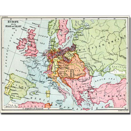 Trademark Art 'Map of Europe After the Peace of Tilsit, 1807 ...