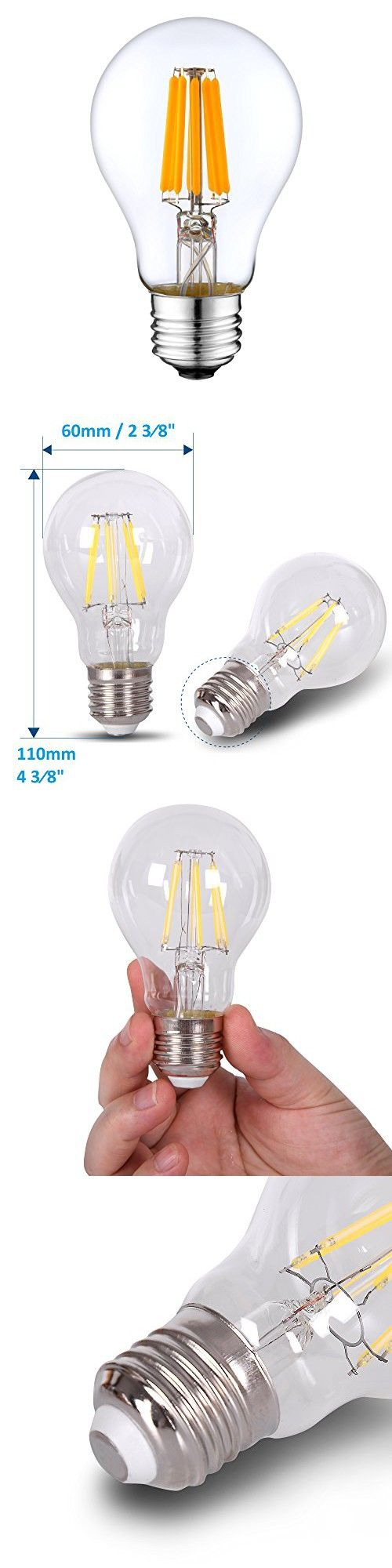 Dc 12v Light Bulb A19 A60 3000k 4w Warm White Led Edison Filament E26 Screw Base Lamp Dc Low Voltage Rv Marine Boat Classic Industrial Prop Retro Landscape Indu Battery Lights