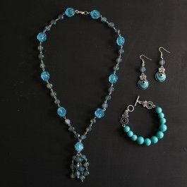 Nicole's™ Bead Shop Blue Reflections Earrings, Necklace & Bracelet