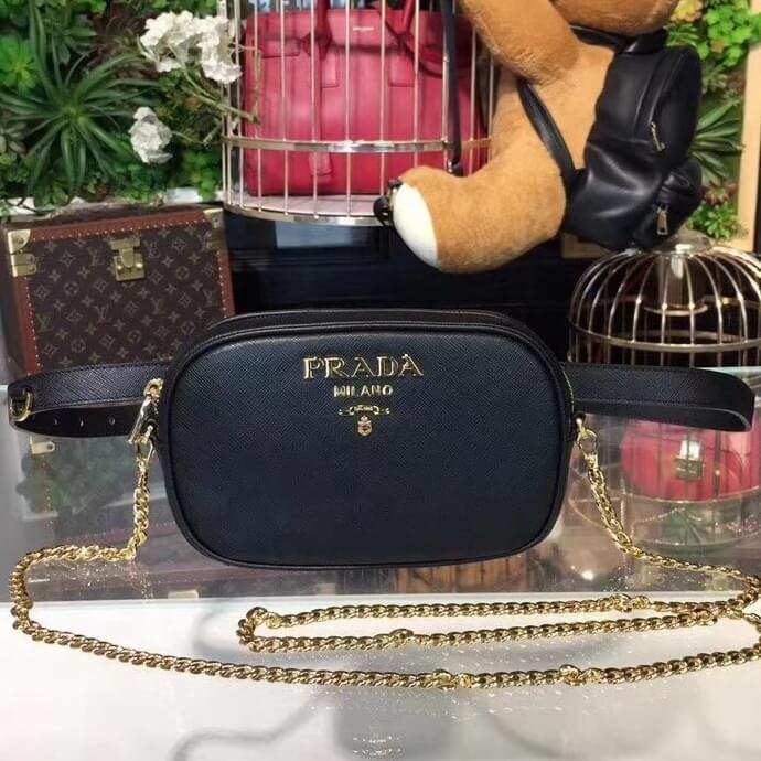 976cc0c6a5a8 Prada Saffiano Leather Belt bag 1BL007 Black 2018 | Prada Bags ...