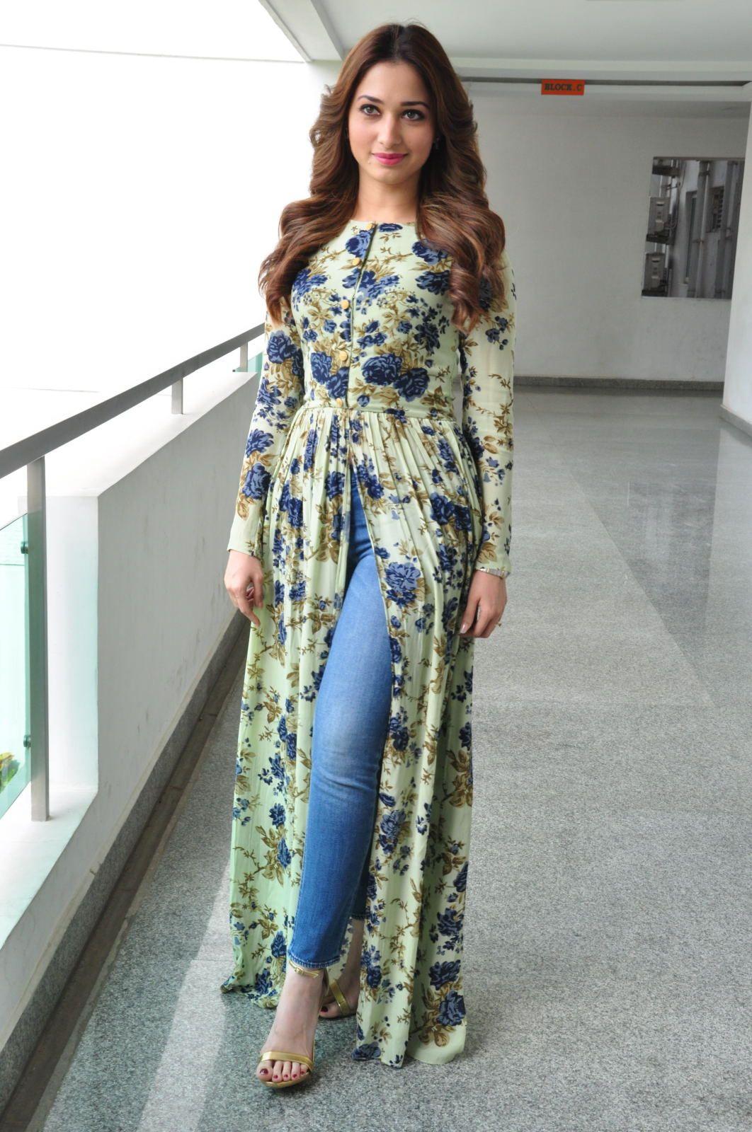 Tamanna Stills at Baahubali Promotions | Long dress design, Indian fashion  dresses, Kurta designs women
