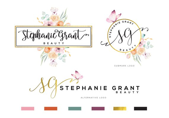 Watercolor Logo Photography Logo Floral Logo Feminine Logo