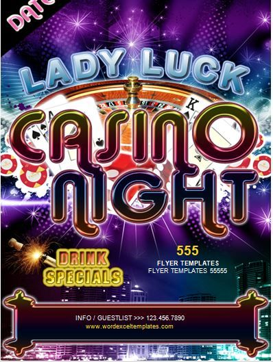 Casino Night Flyer Template Word Business Templates Pinterest