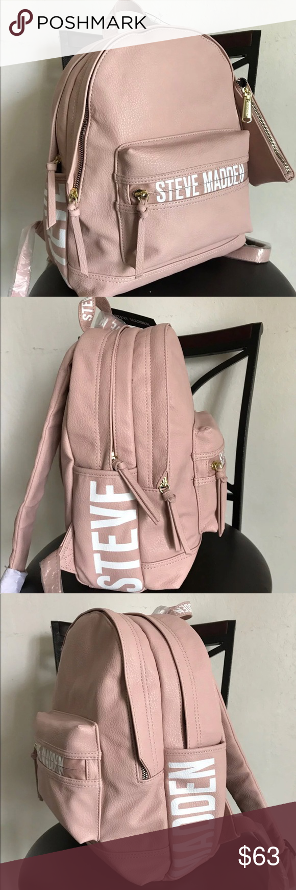 a8f42dc178 Steve Madden Blush Backpack School Bag book bag Steve Madden backpack with  matching zippered with leash