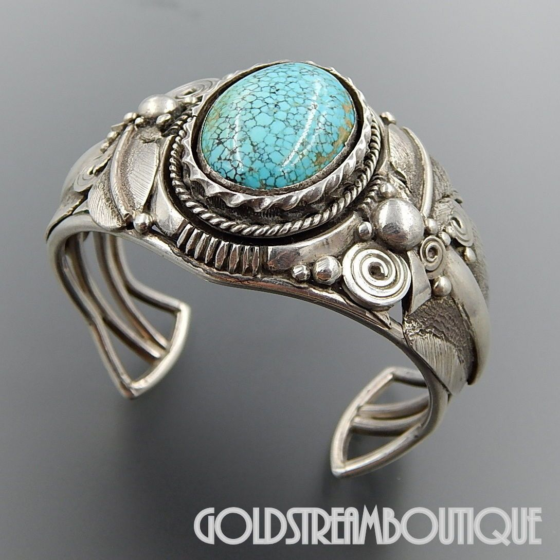 Native American Navajo Turquoise Sterling Floral Bracelet Womens Cuff s6-6.5