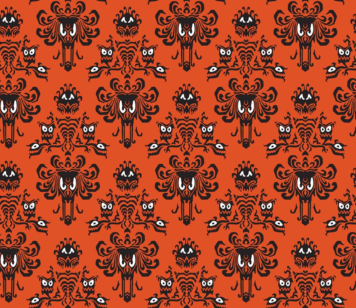 Orange Disney Haunted Mansion Print Wallpaper Fabric