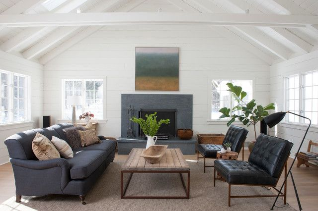 Modern Farmhouse Farm House Living Room Fireplace Surrounds Living Room New York