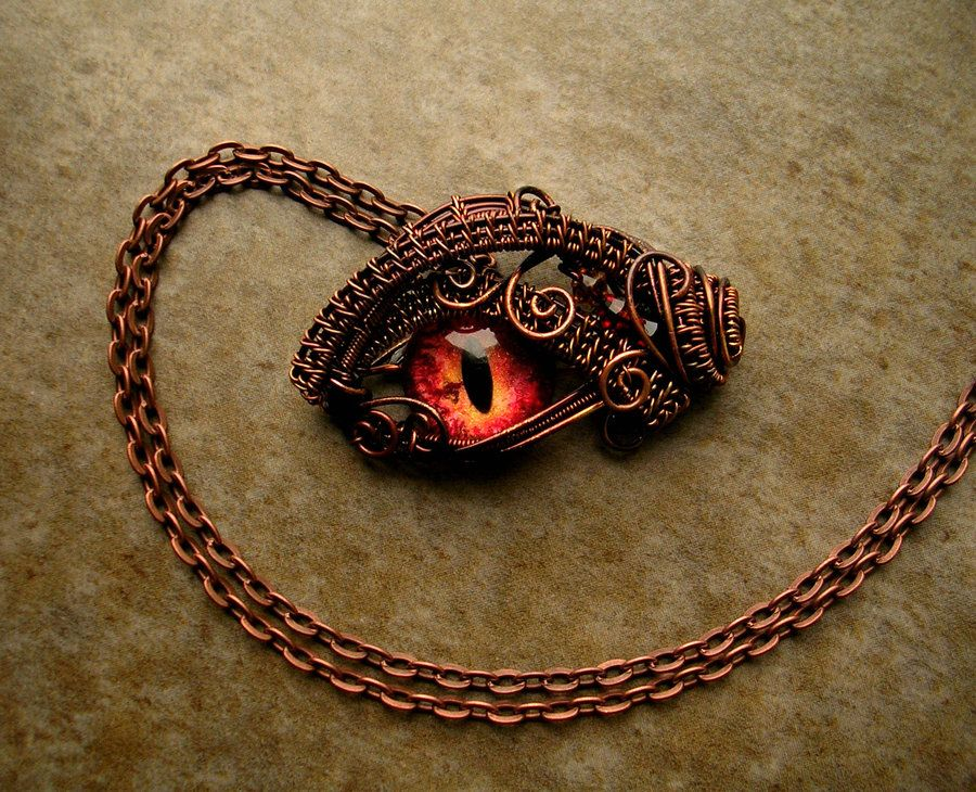 Custom Pendant - Smaug Inspired Dragon Eye Wire by LadyPirotessa ...
