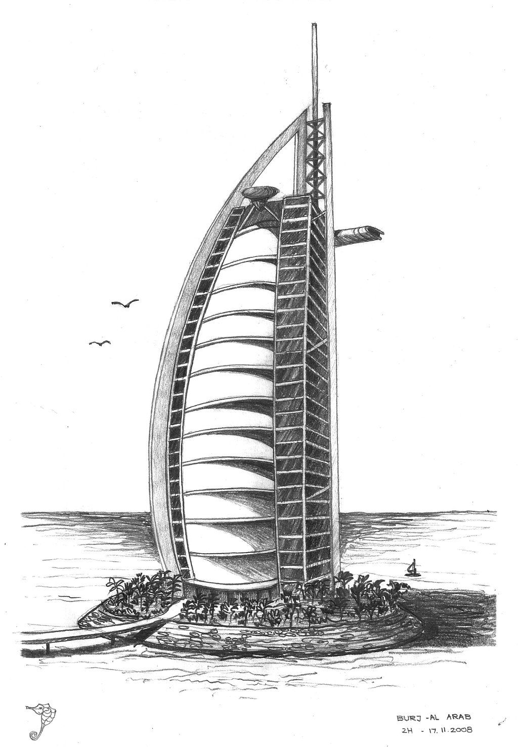 Burj al arab by 1024 1477 architecture for Burj khalifa sketch