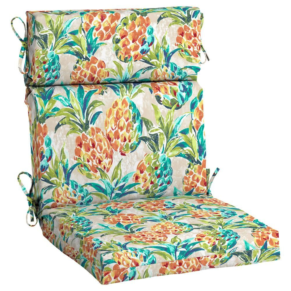 Hampton Bay Pineapples Outdoor High Back Dining Chair Cushion Tj20216b 9d6 The Home Depot Patio Cushions High Back Chairs Chair Cushions