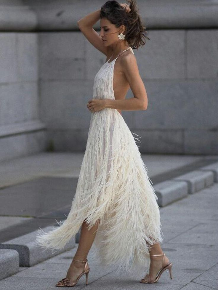 Sexy Backless Tassel Maxi Dress