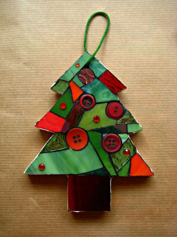 Mosaic Christmas Tree Ornament Christmas Mosaics Mosaic Crafts Stained Glass Christmas