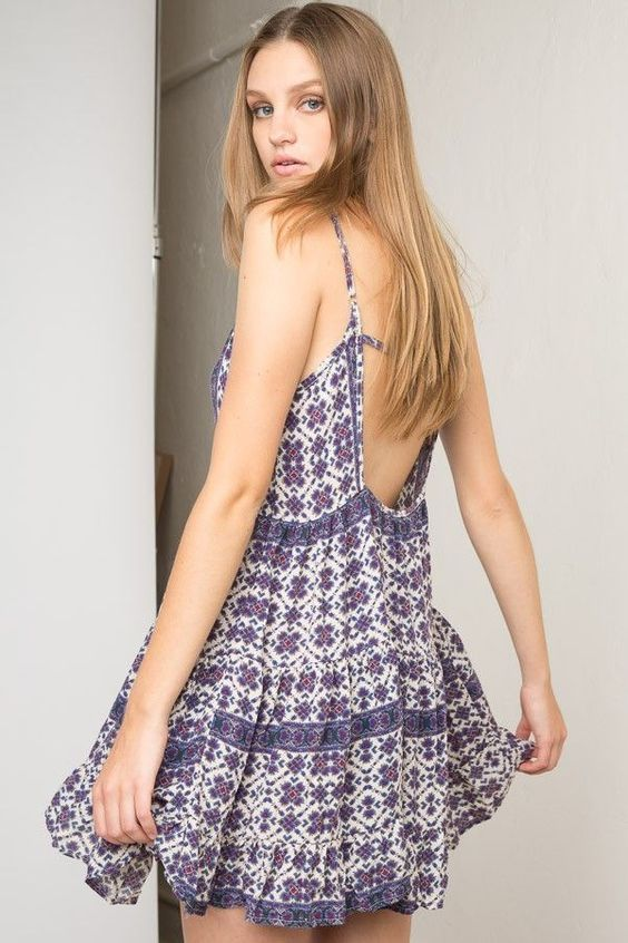 BRANDY MELVILLE JADA DRESS BOHO PRINT OPEN BACK PURPLE BLUE  RUFFLE~SMALL~ITALY!  BrandyMelville  Casual 5bec9579a