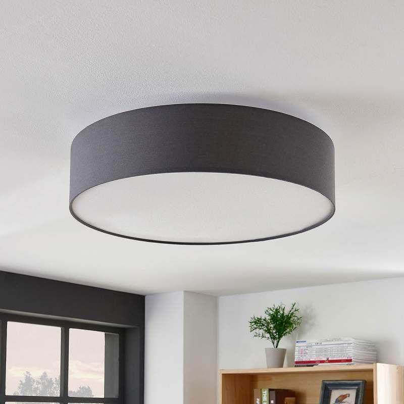Deckenlampe Gordana Aus Grauem Leinen 57 Cm Von Lampenwelt Com