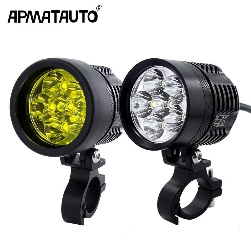 2x 12000lm White Yellow Motorcycle Led Headlight Waterproof