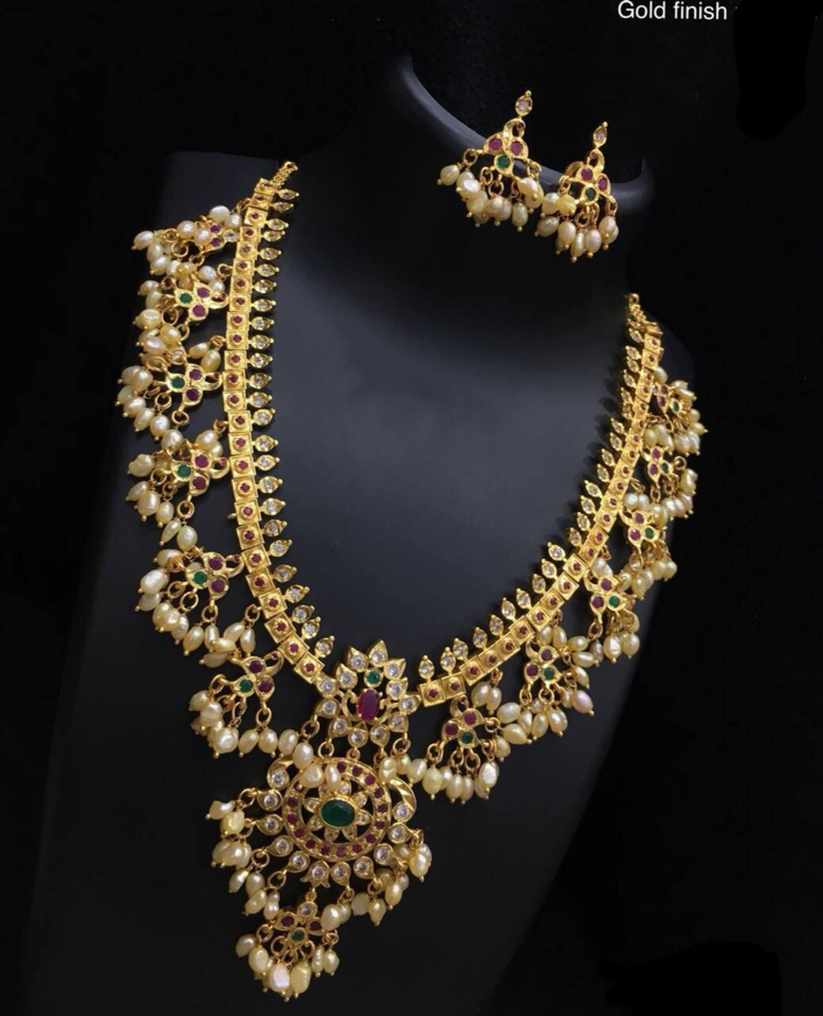 23d8069df6c4c Gutta pusalu with real rice pearls . Beautiful one gram gold ...