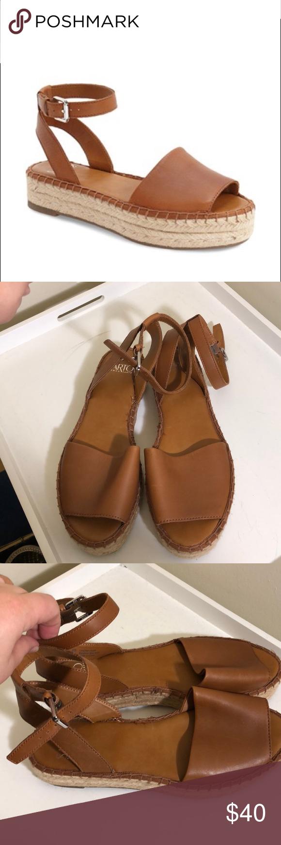 """d6af04447f9d Franco Sarto """"Ravenna"""" platform espadrille sandal— medium brown leather—  ankle strap— 1.5 inch platform. Perfect condition. Franco Sarto Shoes"""