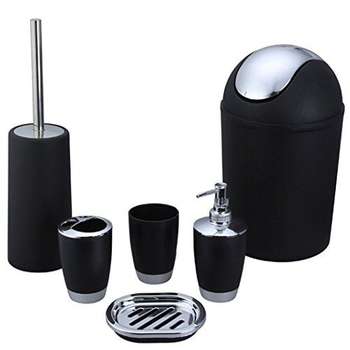 Bluelasers 6 Piece Plastic Bathroom Accessory Set Luxury Bath Accessories Lotion Dispenser Toothbrush Holder Tumbler Cup Soap Dish Trash Can Toilet