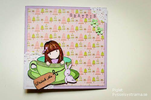 www födelsedagskort se Birthday card with Gorjuss girl by Piglet at pysselsystrarna.se  www födelsedagskort se