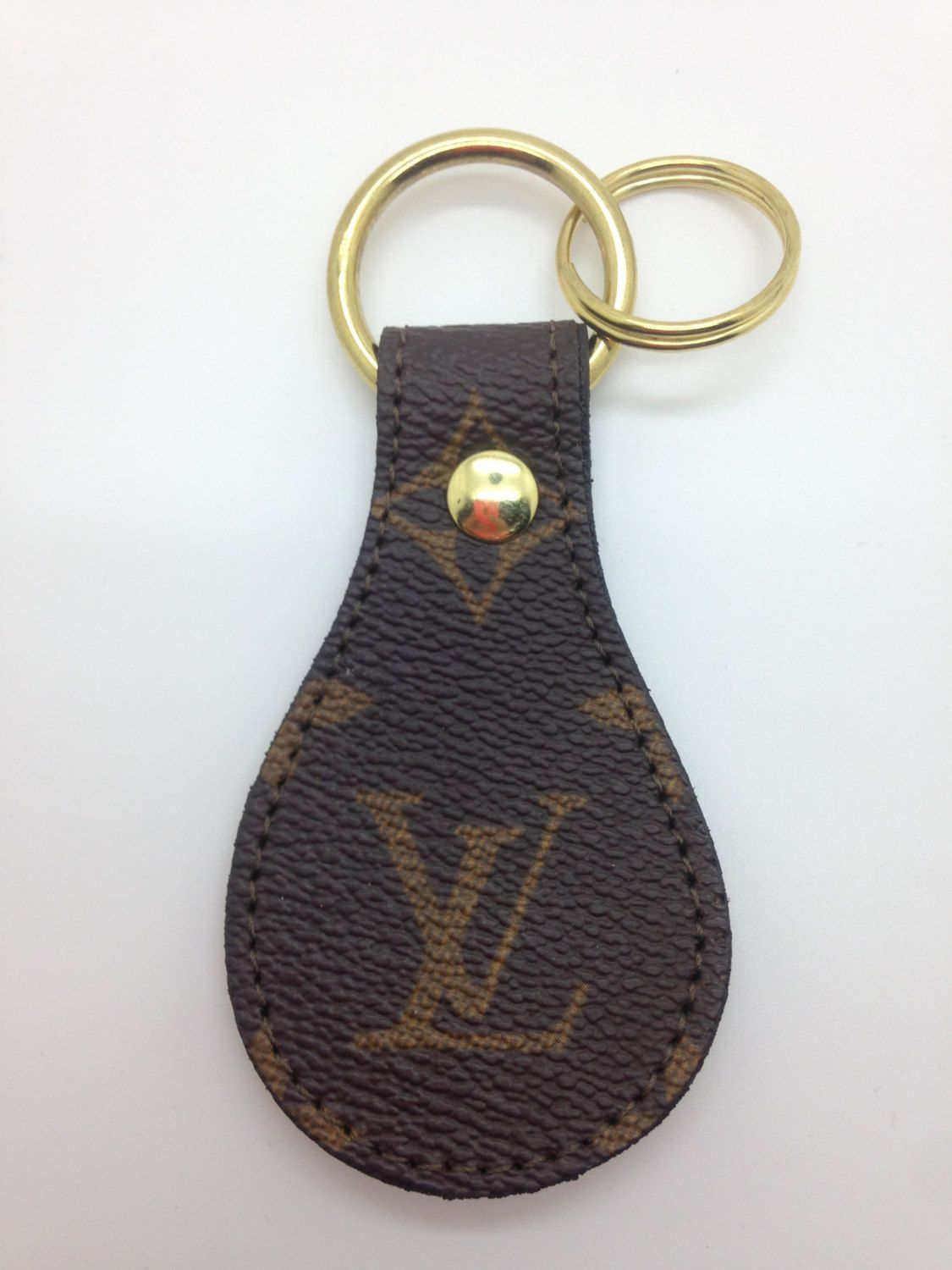 Super Louis Vuitton keychain fob round made from re-purposed LVMH hand DF-34