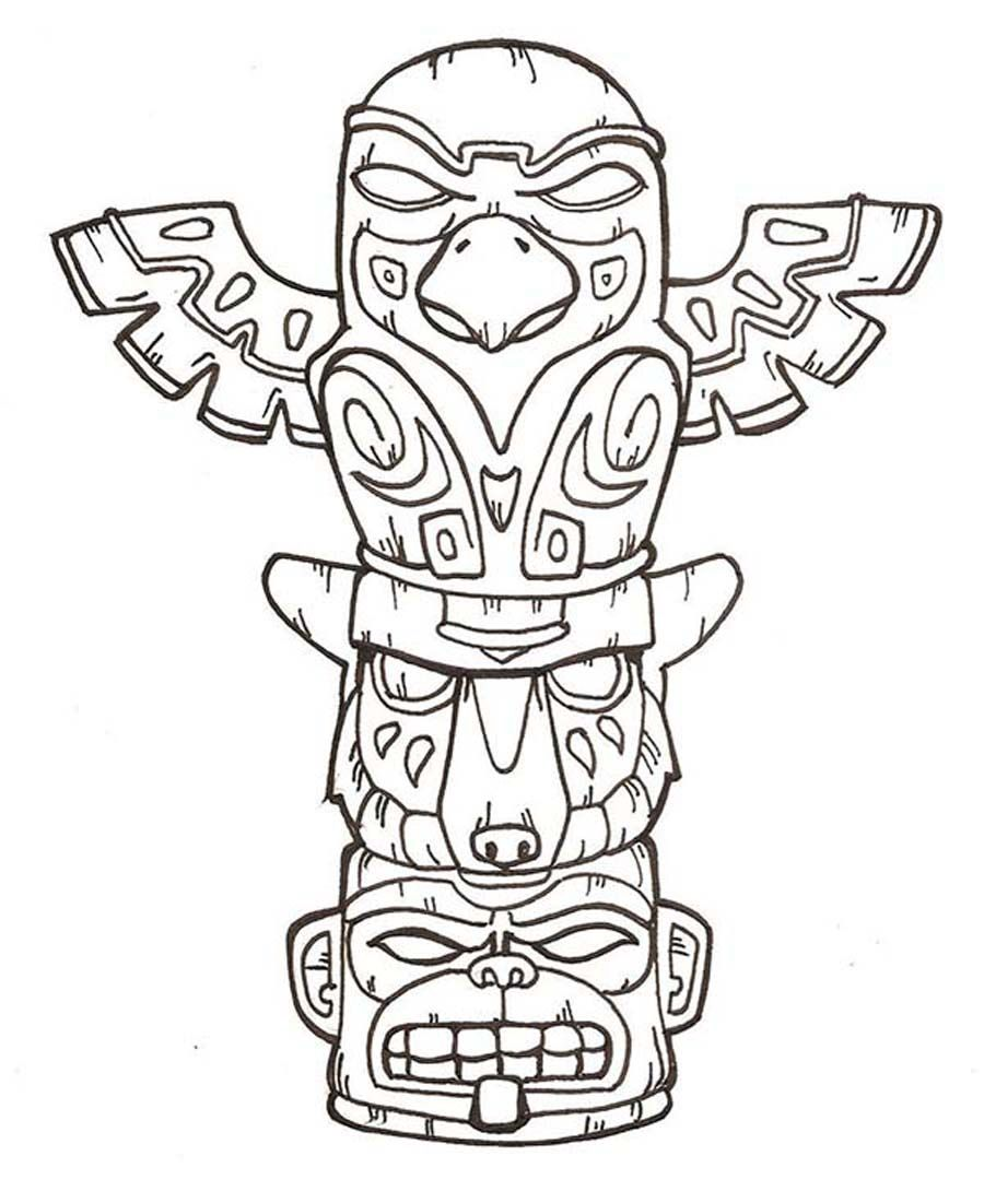printable totem pole coloring pages coloring me - Totem Pole Animals Coloring Pages
